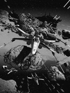 """Affiche originale Not Mondo """"X-Wing"""" par Chris Skinner, (06/06/14) Numérotée. Taille 36""""X24"""". Screen Print with Metallic Ink Regular exemplaires au monde. @asgalerie #asgalerie #ChrisSkinner #X-Wing #starwars."""