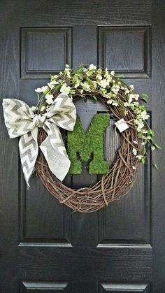 Rustic and Chevron Burlap Flower and Moss Monogram