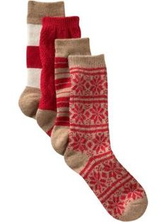 These look warm and love the pattern! (doesn't necessarily have to be this exact set, just like the patterns)  Women s Clothing Women s Clothing Winter crew socks set of 4 Women Shop the TV Spots Gap - Stylehive