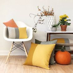 Items similar to Decorative Pillows - Pumpkin Orange - Fall Colorblock Pillow Covers by JillianReneDecor - Modern Home Decor - Fall Autumn - on Etsy Linen Pillows, Down Pillows, Decorative Pillows, Cushions, Pillow Set, Pillow Covers, Lumbar Pillow, Bed Linen Design, Modern Decor
