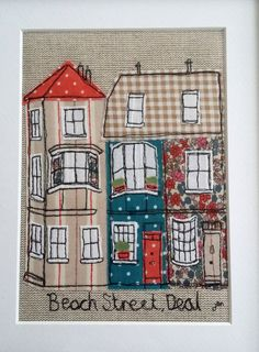 Framed freestyle machine embroidery - Beach Street, Deal