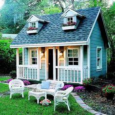 Backyard Playhouse, Backyard Sheds, Playhouse Ideas, Outdoor Playhouses, Backyard Fort, Clapboard Siding, She Sheds, Play Houses, Cob Houses