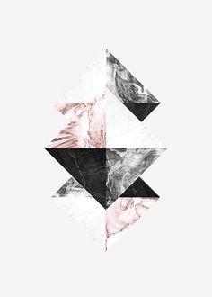Grafisk poster i rosa, grått og hvitt.