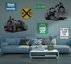 Black Train Wall Decal Set
