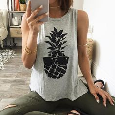 Buy Summer Fashion Pineapple Printed Tank Top Women Sleeveless T-shirt Casual Tops 2 Colours S~XL at Wish - Shopping Made Fun Style Casual, My Style, Comfy Casual, Summer Outfits 2017, Pineapple Clothes, Pineapple Outfit, Estilo Cool, Zara, Vogue