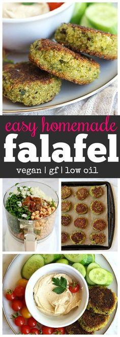 easy vegan falafel recipe is made in the food processor and then baked. Thi… This easy vegan falafel recipe is made in the food processor and then baked. This delicious falafel is perfect for lunch with hummus and vegetables. Veggie Recipes, Whole Food Recipes, Diet Recipes, Cooking Recipes, Healthy Recipes, Recipes Dinner, Easy Cooking, Recipes With Hummus, Recipies