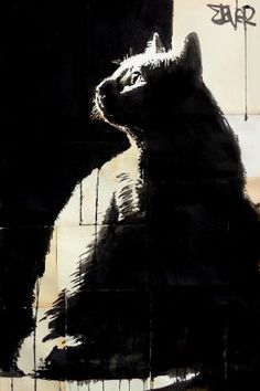 Buy tom, a Ink on Paper by LOUI JOVER from Australia. It portrays: Animal, relevant to: louijover, jover, cat, contemporary, drawing, ink ink on found papers adhered together to make one sheet ready for framing as desired