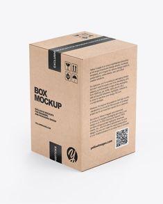 Kraft Box Mockup in Box Mockups auf gelben Bildern Objekt Mockups