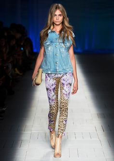 """If you love the """"Prints"""" trend but are scared to do it head to toe, pair a printed bottom back to a denim vest or jacket"""