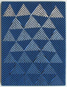 Samantha Bittman Untitled (blue to white triangles) 2010 acrylic on handwoven textile 20 x 15 Textile Patterns, Textile Prints, Print Patterns, Critique D'art, Art Optical, Weaving Textiles, Blue Quilts, Pattern Art, Surface Design
