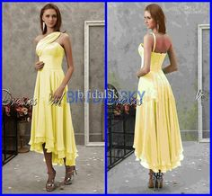 Wholesale Simple Yellow One Shoulder Column Tea length Ruched Cocktail Dresses Bridesmaid Gowns, Free shipping, $80.64-85.12/Piece | DHgate