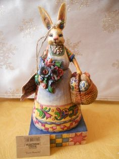 "Jim Shore Heartwood Creek ""Easter Bunnette"" Bunny w Basket Figurine w Box 