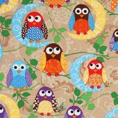 owl fabric | Blue Owl Fabric