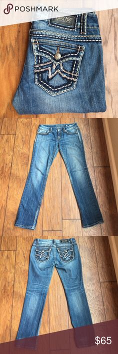 """Miss Me Irene Straight Jeans Excellent pair of jeans! High quality Denim. Blue jeans with white stitching. 30.5"""" inseam, 8"""" rise, 7"""" leg opening. Jeans were folded at the bottom, so there is a little bit of wear at the back where they were folded as pictured. Perfect otherwise! EUC! 💕 Reasonable offers welcome. 20% off bundles! Miss Me Jeans Straight Leg"""