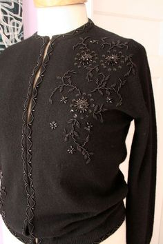 Vintage black wool cashmere beaded cardigan sweater size medium 6 8 silk lined Reserved for Taryn Hand Embroidery Dress, Bead Embroidery Patterns, Beaded Embroidery, 1950s Fashion, Vintage Fashion, The Cardigans, Work Tops, Vintage Knitting, Vintage Sweaters
