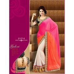Designer Pink & Cream Color Party Wear Saree Designed By Being Fashion.