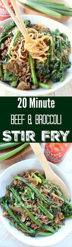 Beef and broccoli stir fry is a delicious, quick and easy recipe made in only 20 minutes, perfect for weeknight dinners in a hurry!
