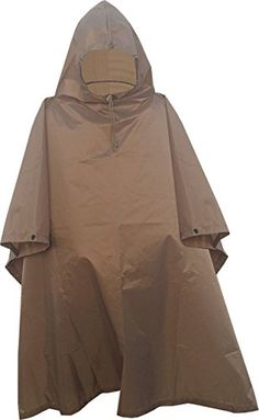 Military Style Ripstop Nylon Poncho Size 55 x 90 Made in USA Ripstop Rain Poncho Coyote Brown *** Read more  at the image link. (Amazon affiliate link)