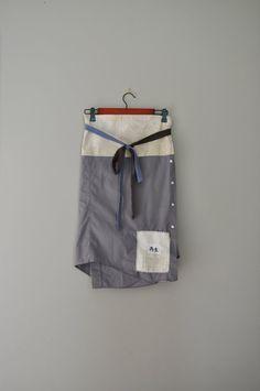 Reserved for Emily/BeckyRose Wrap Skirt/Upcycled Boho Wrap Skirt in Slate and Ivory/Kanji Symbol Patchwork Skirt on Etsy, $55.00