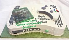 A custom Xbox cake created from vanilla cake, frosted and decorated with butter cream frosting, the Call of Duty game is fondant with an edible image, and the controller is covered with fondant. #ejssweets #customcakes #cakesinmcdonough #xboxcake #callofdutycake #callofduty