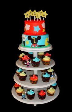 Mickey Mouse Clubhouse cupcakes and cake Mickey Mouse Clubhouse Decorations, Mickey Mouse Parties, Mickey Party, Mickey Mouse And Friends, Mickey Mouse Cupcakes, Mickey Mouse Clubhouse Birthday Party, Mickey Birthday, 2nd Birthday, Birthday Ideas