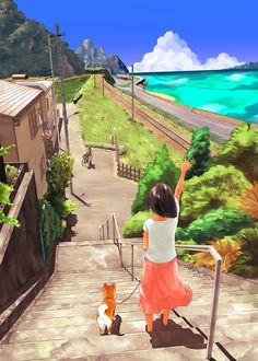 田舎の夏休み Manga Illustration, Landscape Illustration, Landscape Art, Japanese Countryside, Poses References, Aesthetic Japan, Character Design Animation, Scenery Wallpaper, Art Background