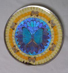 morpho plate | ... Art Deco Brazilian Blue Irridescent Morpho Butterfly Wing Plate | eBay