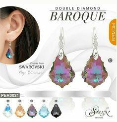 """Double Diamond Baroque""  #Swarovski #elements #Baroque Leaf design #crystal size  22 mm. #silver  #CZ Dimond ($45)"