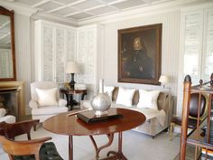 Interior design ideas by Stephen Sills, king of class and author of some of the most enlightening design books out there. French Interior, Interior Design, Houses In America, Marble Columns, Yellow Houses, Entry Hall, Fireplace Mantels, Architecture, Decoration