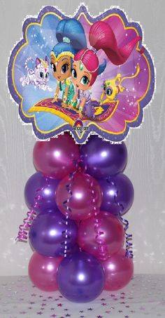 2 Shimmer and Shine Birthday Balloon Table Decoration Centerpiece Room Decoration DIY by LollipopCard94 on Etsy