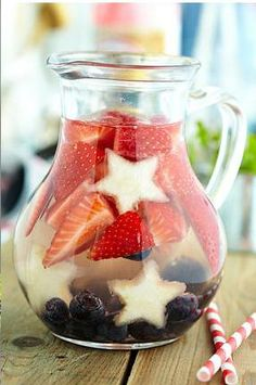 Recipe for Fruit infused water 4th of July Surprise - We believe we can take better control of our health by giving our bodies something that is natural, healthy, and refreshing to drink. #fruit #infusedwater #recipe