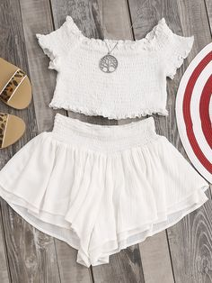Shop Smocked Lettuce Edge Top And Wide Leg Shorts Co-Ord online. SheIn offers Smocked Lettuce Edge Top And Wide Leg Shorts Co-Ord & more to fit your fashionable needs.