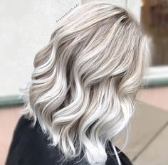 Icy blonde hair, with dark blonde balayage