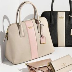 Kate Spade Cameron Street Gently used Kate spade Cameron Street Tote! It is a shade of gray/taupe with a blush pink stripe down the middle! Very cute tote! Perfect size! Comes with crossbody strap! From full retail at Nordstroms kate spade Bags Totes