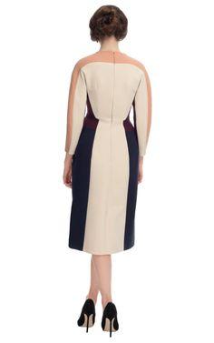 80887096b Espalda de vestido de mangas largas con cuello redondo cerrado