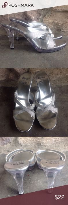 "Mootsies Tootsies Collection Mules - 8 Clear plastic with stripes of silver glitter across the overlapping straps, open toe, 3 3/4"" heel Mootsies Tootsies Shoes Mules & Clogs"
