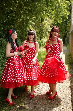 pinup girls wedding. Red and white polka dots for the bridesmaids.