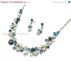 Blue Crystal Necklace Bridal Jewelry Set Wedding by TopPopJewelry, $27.14
