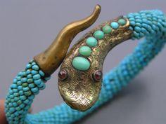RARE Antique Gold Filled Turquoise Coiled Snake Bangle Bracelet w Garnet Eyes Snake Bracelet, Snake Jewelry, Animal Jewelry, Bangle Bracelets, Fine Jewelry, Bangles, Victorian Jewelry, Antique Jewelry, Vintage Jewelry