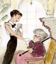 Audrey Hepburn meeting writer Colette for her role in Gigi, from the book: Just Being Audrey by Margaret Cardillo and illustrated by Julia Denos (2011)