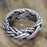 Men's sterling silver ring, 'Reptilian': nice