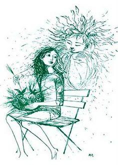 O Chapéuzinho  (in O Cantar da Tila) ---------- A menina comprou um chapéu/ E pô-lo devagarinho:/ Nele nasceram papoilas,/ Dois pássaros fizeram ninho. (...)----- ilustrações de Maria Keil