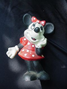 Vintage Minnie Mouse Cast Iron Still Bank, Red Polka Dot Dress