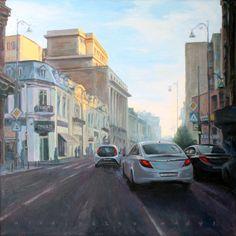 """""""Cityscape study"""", Ciprian Mihailescu, 70x70 cm, oil on canvas, 2016"""