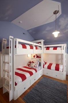 L-shaped quadruple bunk beds for kids | Bedrooms shared by three of four kids - via