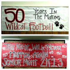 Senior Night - just a few more signs we made Football Game Signs, Football Banner, Football Cheer, Football Posters, Football Stuff, School Football, Friday Football, Wrestling Posters, Basketball Stuff