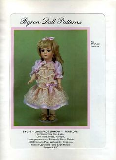 """Byron Doll Pattern 1980's 269 Dress Hairbow Undergarments Fits 11 1/2"""" doll Old Store Stock Sewing Pattern by LanetzLivingPatterns on Etsy"""