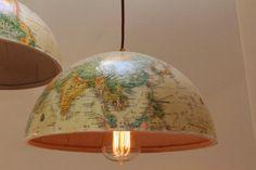 Minha luminária de globo terrestre - * Decoração e Invenção *