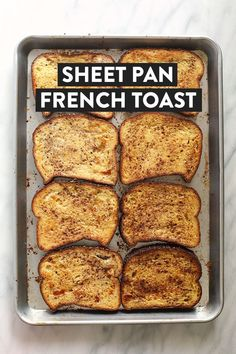 This Sheet Pan French Toast is the answer to your brunch dreams! It's ready … This Sheet Pan French Toast is the answer to your brunch dreams! It's ready to serve in under 30 minutes, and can easily be doubled to serve a crowd. Oven Baked French Toast, Healthy French Toast, French Toast Muffins, Brioche French Toast, Baked French Toast Casserole, Banana French Toast, French Toast Sticks, French Bread French Toast, Simple French Toast