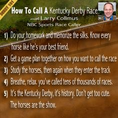 #Derby101: How to call a Kentucky Derby Race with Larry Collins, @Nancy Christopher Sports Race Caller  #KentuckyDerby #Derby #KYDerby